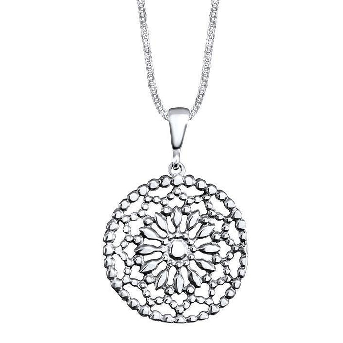 Primavera Sterling Silver Cut-Out Flower Pendant Necklace Pendant