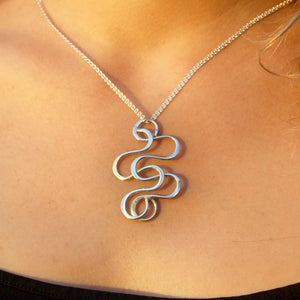 Serpentine Sterling Silver Swirl Pendant Necklace Pendant