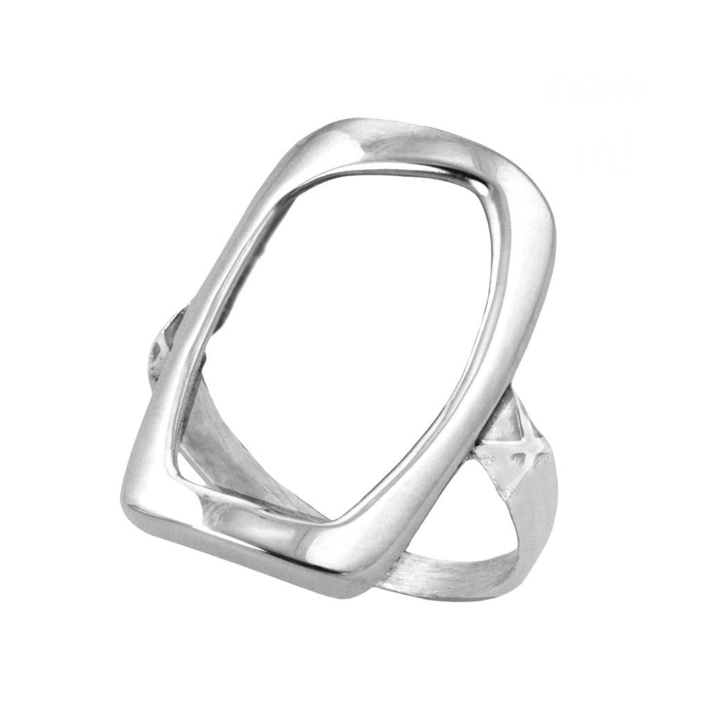 Amara Sterling Silver Cut-Out Rectangle Ring Ring