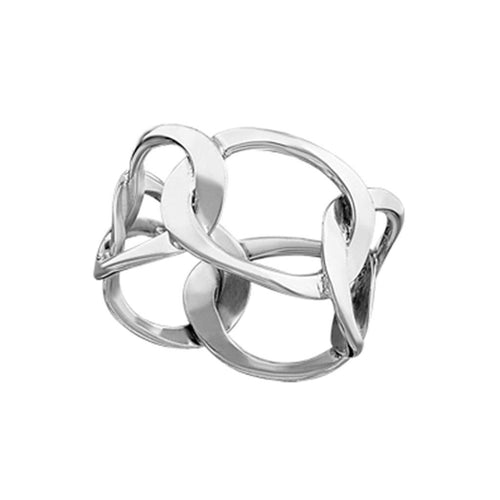 Asha Sterling Silver Linked Ovals Ring Ring