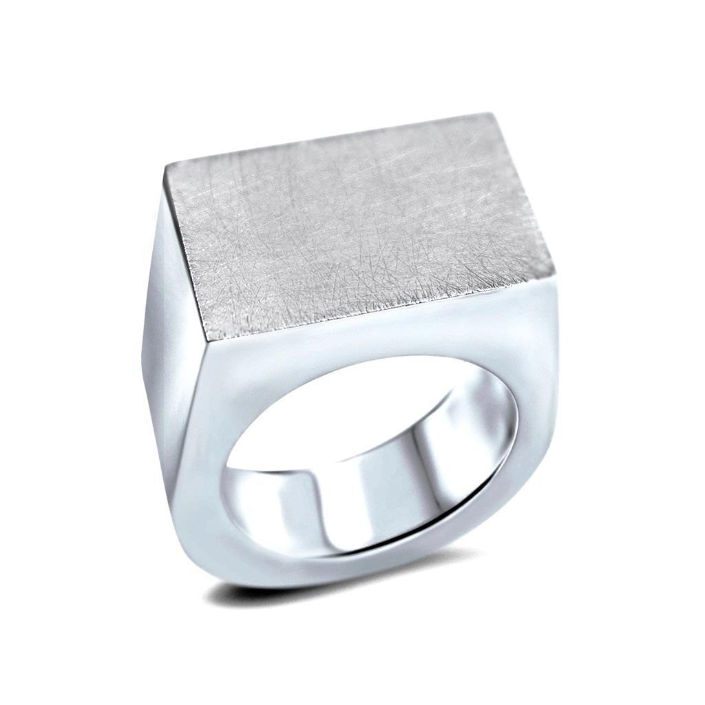 Pinkie Sterling Silver Rectangle Ring Ring