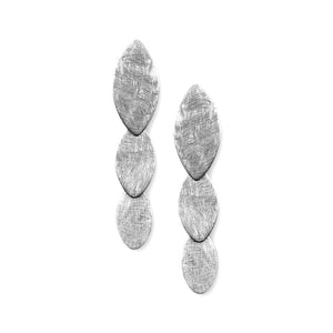 Petal Brushed Sterling Silver Long Stud Earrings Earring