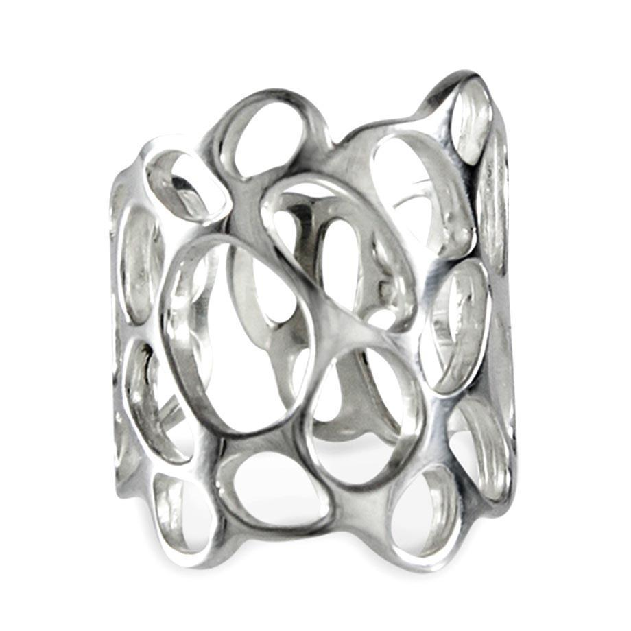 Honeycomb Sterling Silver Cut-Out Ring Ring