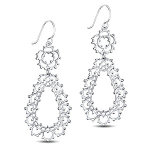 Kiara Sterling Silver Long Flower Earrings