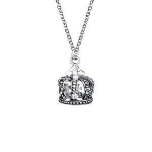 Koruna Sterling Silver Crown Pendant Necklace Necklace