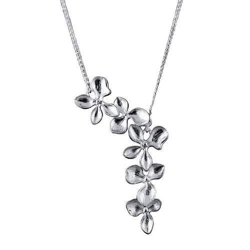 Orchid Sterling Silver Flower Necklace Necklace