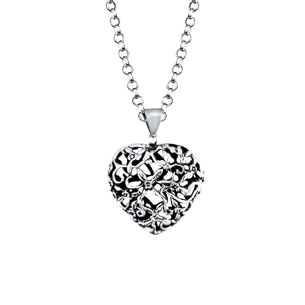 Eternity Sterling Silver Cut-Out Flower Heart Pendant Necklace Necklace