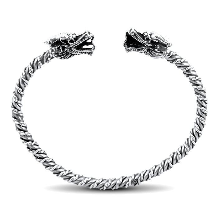 Rayo Mens Sterling Silver Dragon Bangle Bracelet Mens Bracelet