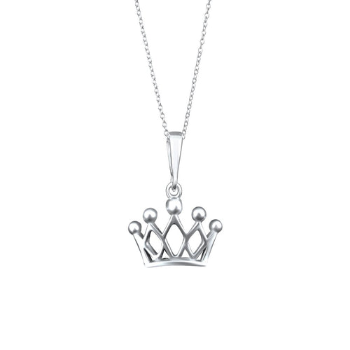 Reina Sterling Silver Crown Pendant Necklace Necklace
