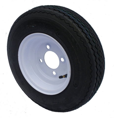 4.80-8 Major Brand Load Range C  Trailer Service Tire & Wheel Assembly on 4 Bolt / Lug White Steel Wheel