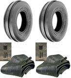5.00-15 Tri Rib (3 Rib) 4 ply rated Farm Implement Tires with Tubes  (Set of 2)