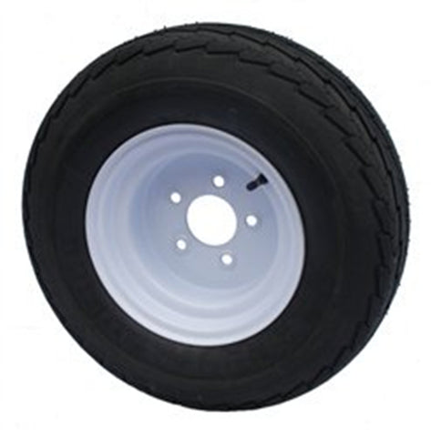 4.80-8 Major Brand Load Range C 6 Ply Rated Trailer Service Tire & Wheel Assembly on 5 Bolt / Lug  White Steel Wheel