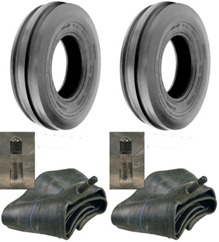 7.50-16 Major Brand Tri Rib (3 Rib) F-2  8 Ply Rated Tires and Tubes (Set of 2)