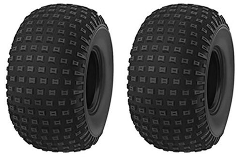 16x8-7 Deestone D929 Knobby 4 ply rated Tubeless ATV Tires  -  (SET OF 2)