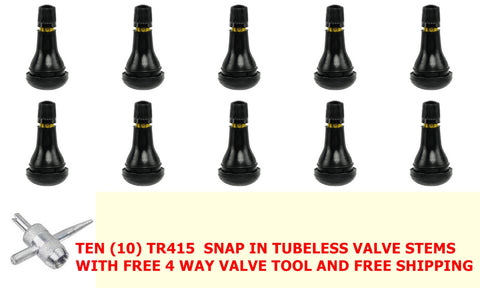 "Tire Valve  TR415 - 1.25"" Length Snap-In Tubeless Rubber Valve Stem (10 Pack) & 1 Tool"