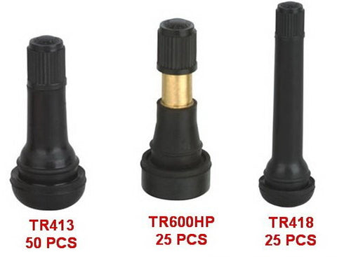 Tire Valve Snap-In Tubeless Tire Valve Stem 3 Size  Assortment (TR413= 50 Pcs) (TR418=25 Pcs)(TR600HP=25 Pcs)  (LOT OF 100)