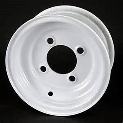 "10"" White Steel Trailer Wheel 4 Bolt/Lug Fits 20.5x8.0-10 205/65-10 Tires"