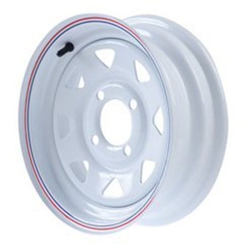 "12""  White Steel Trailer Wheel 4 Bolt / Lug Fits 4.80-12  5.30-12 Tires"