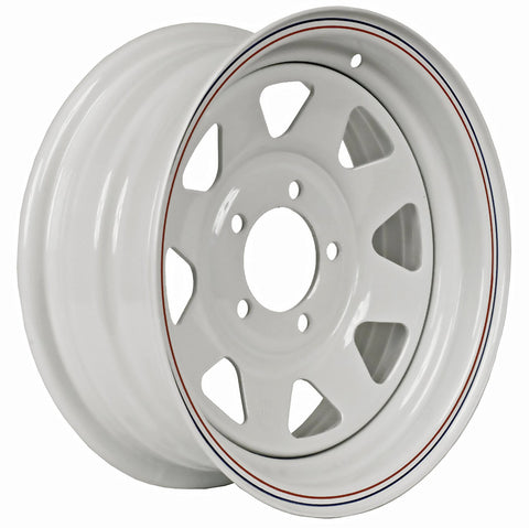 "15""  White Steel Trailer Wheel 5 Bolt / Lug Fits 205/75-15 F78X15  225/75-15 H78X15"