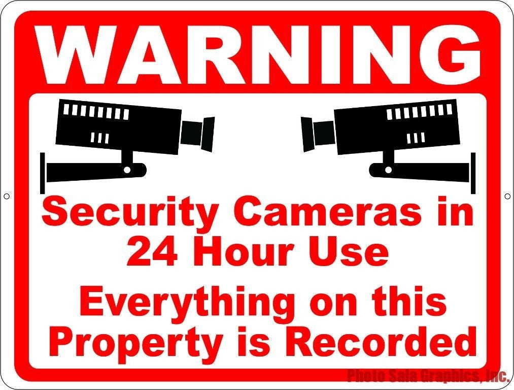 Warning Security Cameras in 24 Hour Use Sign. Inform Others that everything Recorded on Property - Signs & Decals by SalaGraphics