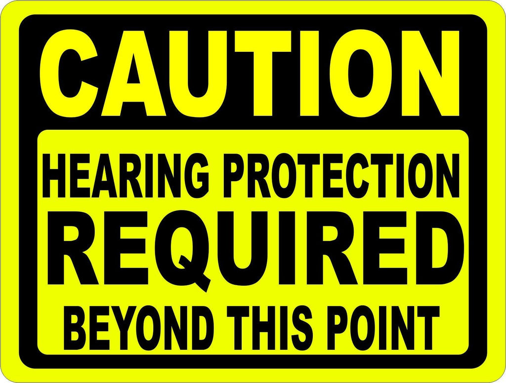 Caution Hearing Protection Required Beyond Point Sign - Signs & Decals by SalaGraphics