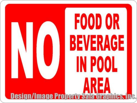 No Food or Beverage in Pool Area Sign.