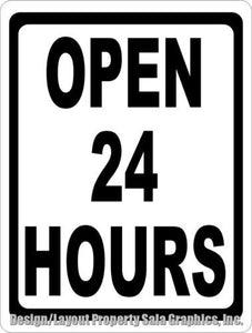 Open 24 Hours Sign - Signs & Decals by SalaGraphics