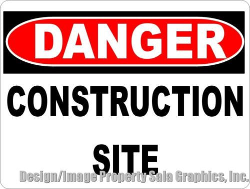 Danger Construction Site Sign - Signs & Decals by SalaGraphics