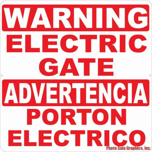 Bilingual Warning Electric Gate Sign Advertencia Porton Electrico Signo - Signs & Decals by SalaGraphics