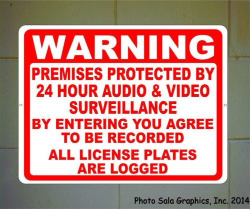 Warning Protected 24 Hr Audio & Video Surveillance License Logged Sign - Signs & Decals by SalaGraphics
