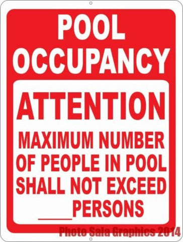 Pool Occupancy Attention Maximum Number of People Sign.