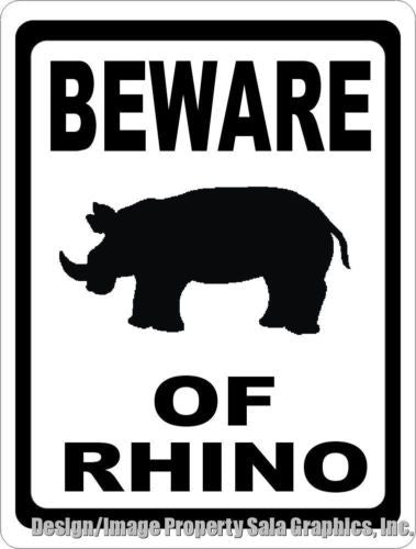 Beware of Rhino Sign - Signs & Decals by SalaGraphics