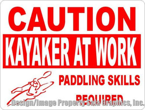 Caution Kayaker at Work Sign - Signs & Decals by SalaGraphics