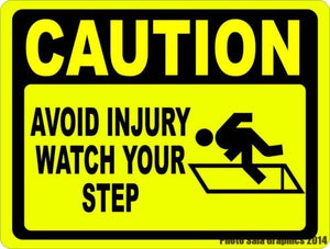 Caution Avoid Injury Watch Your Step Sign - Signs & Decals by SalaGraphics