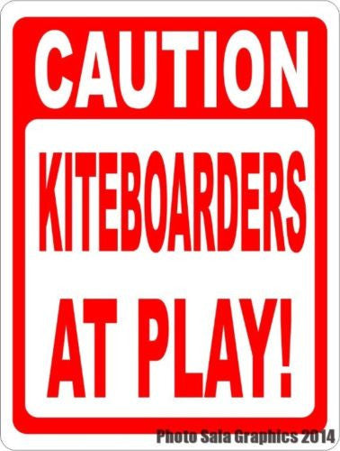 Caution Kiteboarders at Play Sign - Signs & Decals by SalaGraphics