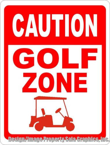 Caution Golf Zone Sign - Signs & Decals by SalaGraphics