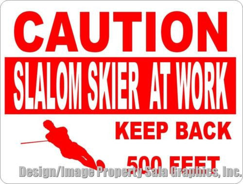 Caution Slalom Skier at Work Sign - Signs & Decals by SalaGraphics