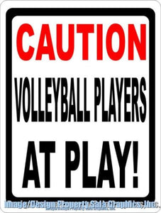 Caution Volleyball Player at Play Sign - Signs & Decals by SalaGraphics