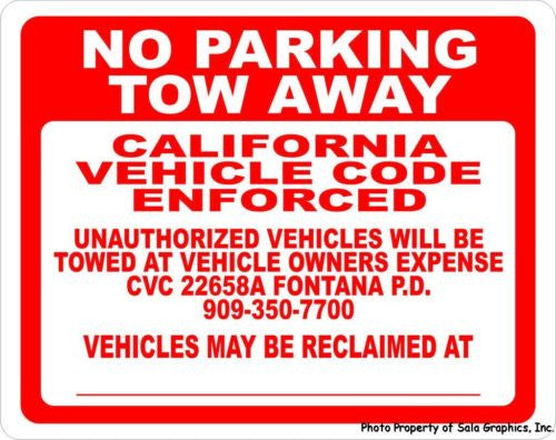 Custom Designed Tow Away Sign - Signs & Decals by SalaGraphics