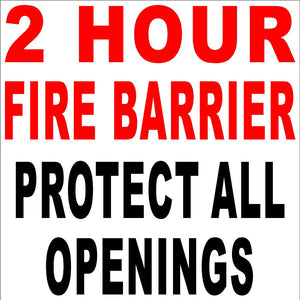 2 Hour Fire Barrier Decal