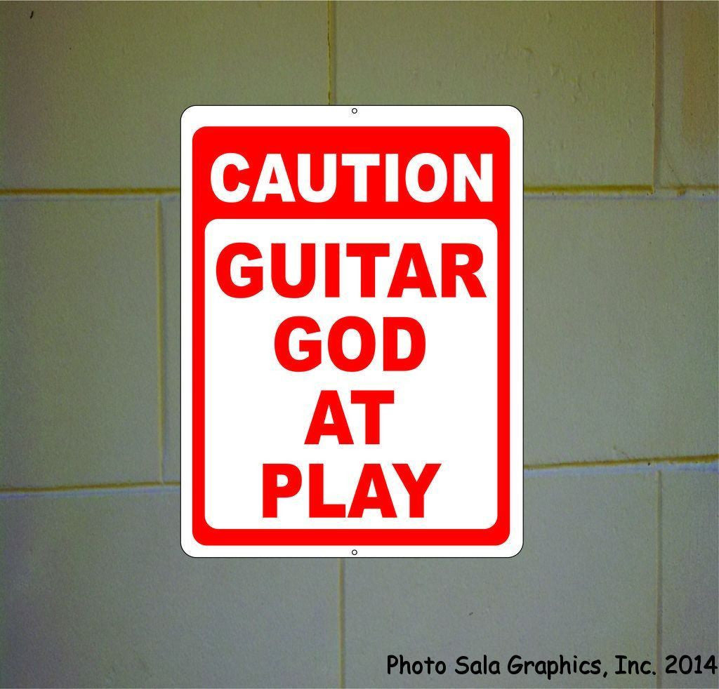 Caution Guitar God at Play Sign - Signs & Decals by SalaGraphics