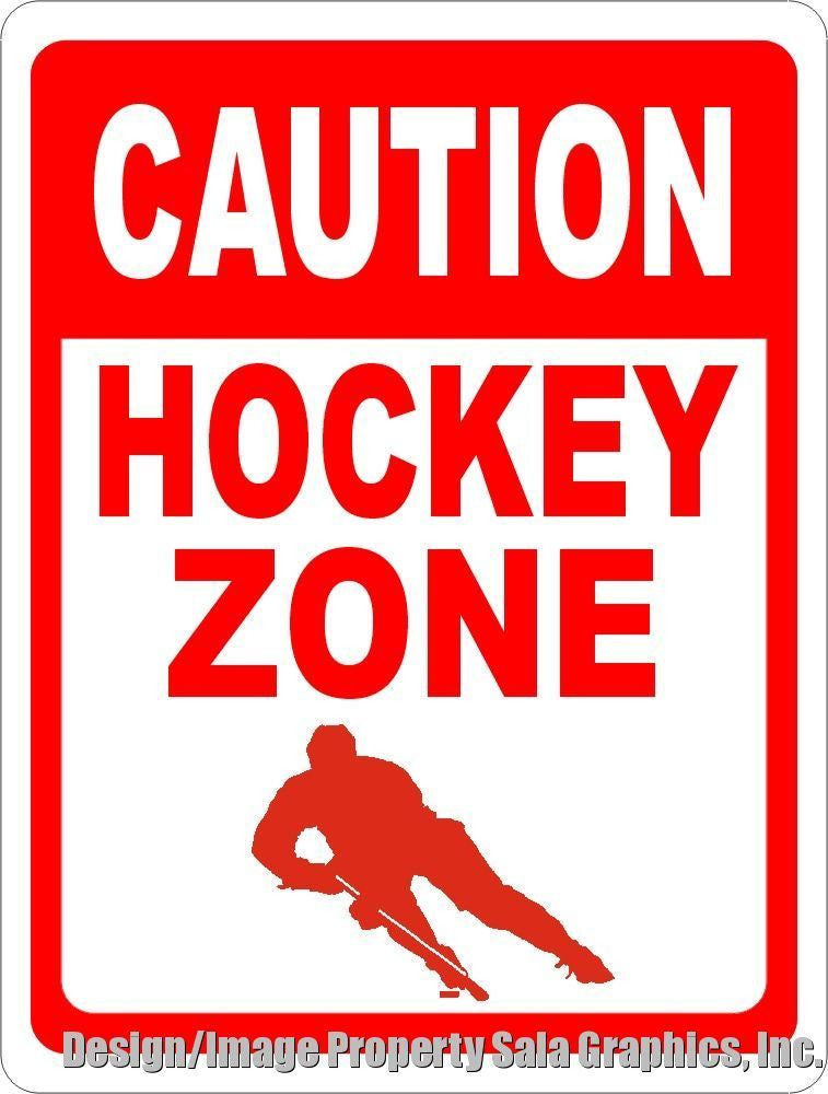 Caution Hockey Zone Sign - Signs & Decals by SalaGraphics