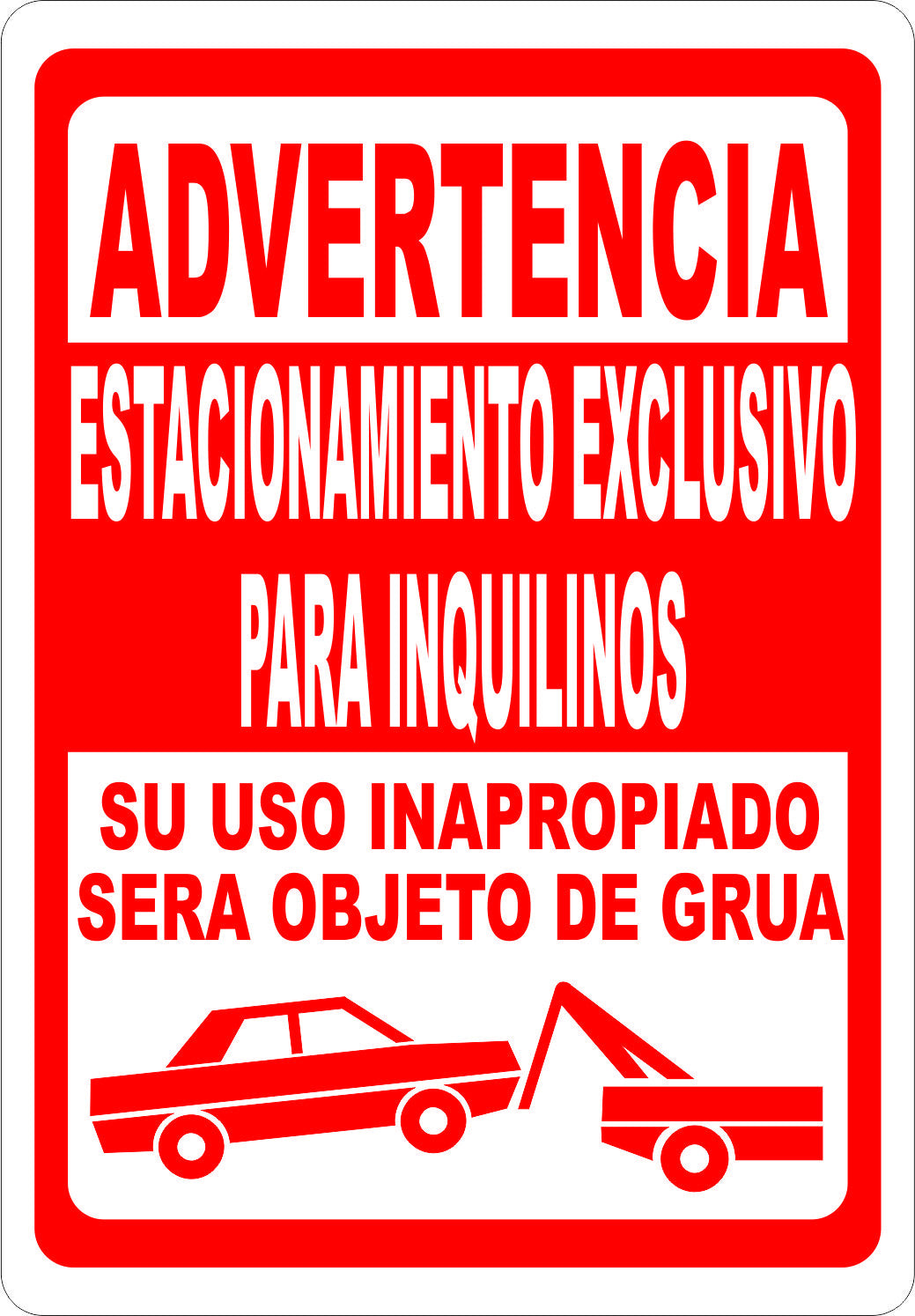 Advertencia Estacionamiento Exclusivo Para Inquilinos Sign - Signs & Decals by SalaGraphics