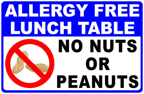Allergy Free Lunch Table Sign. No Nuts or Peanuts