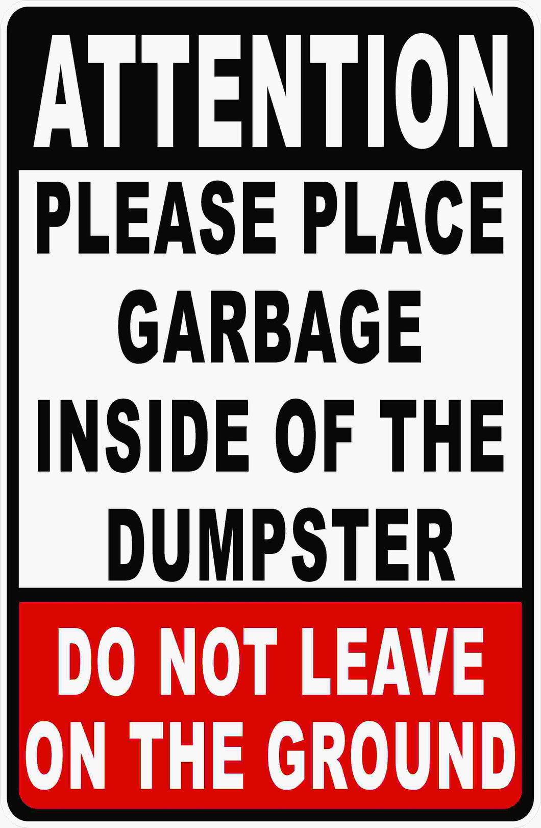 Dumpster Rules Sign by Sala Graphics
