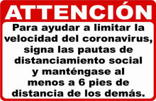 Attention Limit Spread of CoronaVirus Social Distancing Decal Multi-Pack (5 per pack) English or Spanish