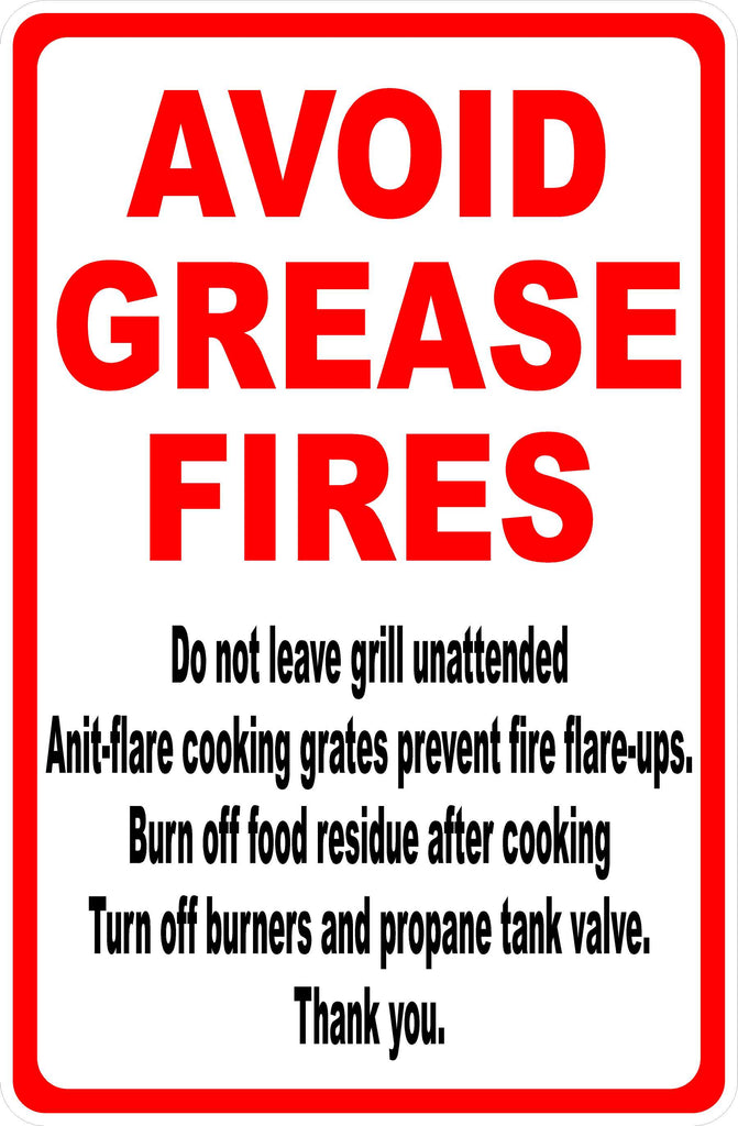Grill Fire Safety Sign