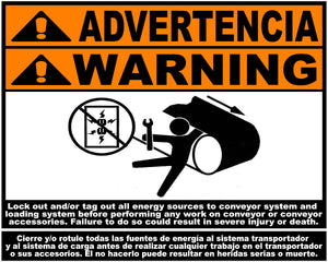 Bilingual Conveyer Equipment Safety Decal