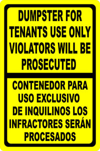 Bilingual Dumpster For Tenants Use Only Violators Prosecuted Sign - Signs & Decals by SalaGraphics
