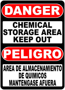 Danger Chemical Storage Area Decal Bilingual English & Spanish - Signs & Decals by SalaGraphics